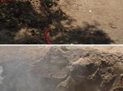 Fumo fiamme eruttano dalla terra lanka