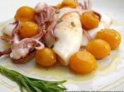 ricetta creativa: Calamari alla piastra pomodori datterini gialli emulsione olio evo, tequila, lime dragoncello