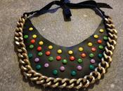 necklace with multicolor studs