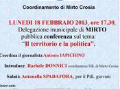 Crosia Mirto, febbraio incontro territorio Politica