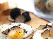 quinto gusto: Crostini uova quaglia, grana tartufo nero