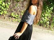 Back Black with long skirt.
