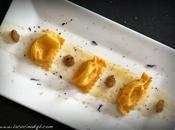 Plin plin Tortellin! gelatina mosto d'uva bianca allo zenzero, nero Coquelicot Gourmand riduzione succo d'arancia