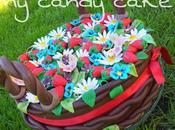 Torta cesto fragole, fiori farfalle
