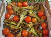 Slow-cooked artichokes with cherry tomatoes spottier dick pudding
