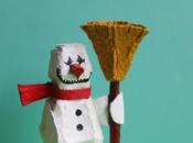 Pupazzo neve cartone delle uova carton snowman