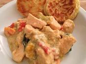 Spezzatino orientale pollo mini pancakes porri
