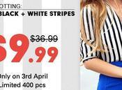 'Romwe' White Black Fluid Striped Shirt