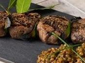 Spiedini cervo marinati insalata tiepida lenticchie.