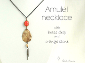 Amulet necklace with brass drop orange stone {Spirit Earth collection}