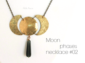 Moon phases necklace hammered brass {Spirit Earth collection}