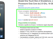 Offerta fine anno Amazon tempo limitato: Alcatel Touch Hero euro