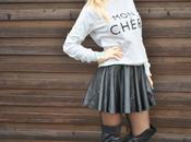 Outfit: leather skirt, sweatshirt fedora