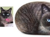 Gatti dipinti sassi Ritratto Susy