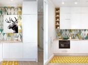 Piccoli vivibili spazi: loft mosca colori pastello geometrie