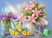 Schema punto croce: Quadretto gigli tulipani