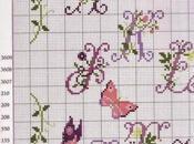 Schema Alfabeto fiori lavanda farfalle