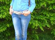 Outfit: jeans, blue shirt backpack