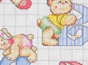 Alfabeto punto croce orsetti, schemi Cross stitch alphabet with teddy bears, free patterns