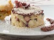 ricette della Tognazza: Tortino polpo patate paté olive nere, fiori zucca sesamo.