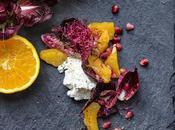 Insalata arance, radicchio, melograno ricotta sciroppo d'acero fiori d'arancio