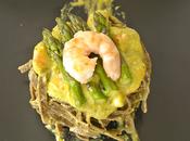 Tagliatelle alla canapa farro pesto asparagi menta mazzancolle croccanti