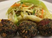 Polpette bieta rossa verdure saltate agrodolce