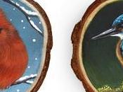 Gioielli dipinti mano uccelli sezioni legno
