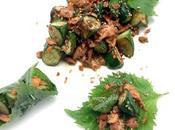 Sauté salmone cetrioli avvolto foglie shiso