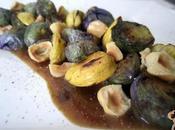 Insalata tiepida cavolini viola castagne salsa agrodolce alle acciughe: incantevoli colori delle stagioni