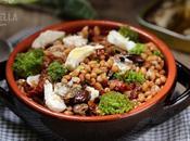 Insalata invernale farro sardine Anzio, pomodori secchi, olive taggiasche, straccetti mozzarella broccoletti