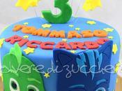 Torta pasta zucchero Masks, Super Pigiamini gemellini: Connor/Gattoboy Greg/Geco tecnica collage