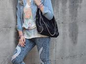 Denim total look outfit sporty casual: giubbino denim, jeans sneakers