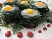 Uova quaglia funghi shiitake nidi agretti