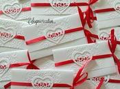 Partecipazioni matrimonio romantiche, cuori nastro rosso