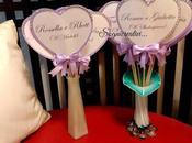 Segnatavolo matrimonio forma cuore stecchetto lilla