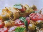 Paccheri pesto, olive pomodori