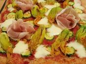 Pizza semintegrale fiori zucca, mozzarella, speck lievito madre