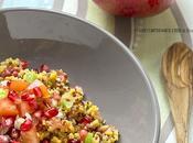 Insalata tiepida quinoa granelli mais melograno, cipollotto pomodoro