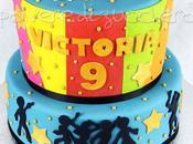 Party tema disco music: torta decorata pasta zucchero compleanno bimba