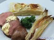 Petto d'anatra dauphinois patate indivia belga brasata