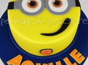 Torta decorata faccia Minions pasta zucchero compleanno bimbo