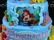 Torta decorata pasta zucchero piani compleanno bambina tema Sirenetta Disney, Little Mermaid cake