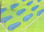 Italia, giornale' bare campo rappresentare azzurri italy, coffins pitch represent