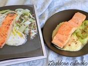 Salmone padella crema cavolfiore sedano insalata