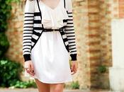 Outfit white dress+striped cardigan