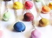 collane lunghe, bracciali regolabili cordino cotone French macarons, anello wedding cake, biscotto