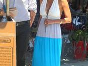 maxi dress color block Halle Berry Aqua