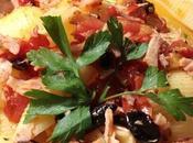 Conchiglie pomodori, olive nere fesa tacchino