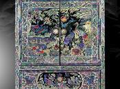 Cofanetto porta gioielli legno laccato intarsi madreperla raffiguranti simboli longevità